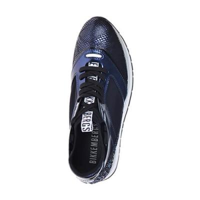 Кожаные синие кроссовки BIKKEMBERGS (ITALY)