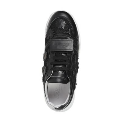 Кожаные чёрные кроссовки BLUMARINE (ITALY)