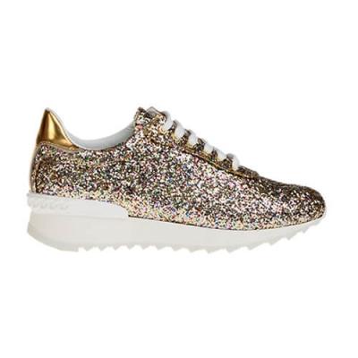 Текстильные золотые кроссовки CASADEI (ITALY)