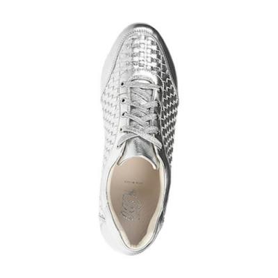 Кожаные серебряные кроссовки LORIBLU (ITALY)
