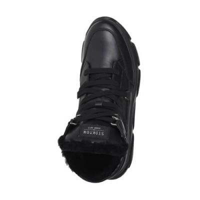Кожаные чёрные кроссовки STOKTON (ITALY)
