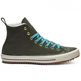 Ботинки Converse ® Оригинал Тёмно-Зелёные Высокие — Женские Конверсы — 162478C