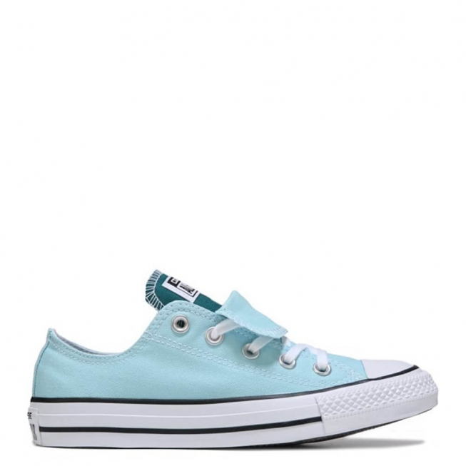 Кеды (Оригинал) Converse Chuck Taylor All Star Double Tongue Низкие Бирюзовые (Motel Pool)