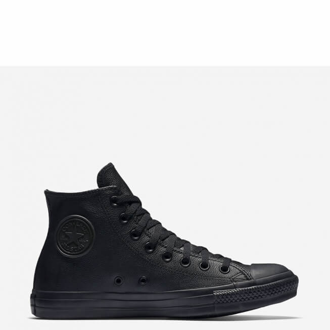 Кеды (Оригинал) Converse Chuck Taylor All Star Mono Leather Высокие Чёрные (Black Mono)