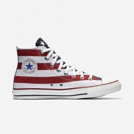 Кеды (Оригинал) Converse Chuck Taylor All Star Stars and Bars Высокие Красно-Белые (Red and White)