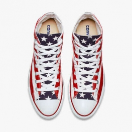 Кеды Converse ® Белые с Красным Высокие — Мужские Конверсы — M8437C