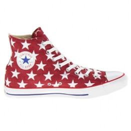 Кеды (Оригинал) Converse Chuck Taylor All Star White Star Print Jester Высокие Красные (Red)