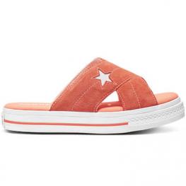 Шлёпанцы (Оригинал) Converse One Star Оранжевые Замшевые Конверсы